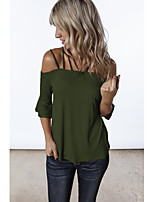 cheap -Women's Blouse Shirt Solid Colored Cut Out Off Shoulder Tops Loose Basic Basic Top Black Red Army Green