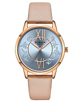 cheap -CURREN Women's Quartz Watches Quartz Formal Style Modern Style Minimalist Water Resistant / Waterproof Genuine Leather Brown / Grey / Pink Analog - Rose Gold Golden+Black Golden+White One Year