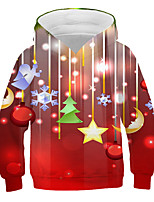 cheap -Kids Boys' Active Basic 3D Graphic Christmas Print Long Sleeve Hoodie & Sweatshirt Red