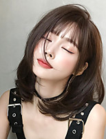 cheap -Synthetic Wig Loose Curl Bob With Bangs Wig Short Brown Black Black / Brown Synthetic Hair 16 inch Women's Classic Ombre Hair Exquisite Brown