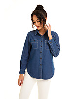 cheap -Women's Blouse Shirt Solid Colored Long Sleeve Pocket Denim Shirt Collar Tops Slim Basic Basic Top Blue