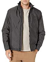 cheap -men's classic fit full-zip microfiber jacket, navy grey, s