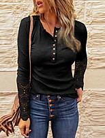 cheap -Women's T-shirt Solid Colored Long Sleeve Button Lace Trims V Neck Tops Slim Basic Basic Top Black Navy Blue Beige