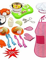 cheap -kids cooking and baking chef set - 32 pcs chef role play costume set play kitchen toys pretend cooking toy cookware playset