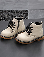 cheap -Boys' / Girls' Boots Combat Boots PU Little Kids(4-7ys) / Big Kids(7years +) Walking Shoes White / Black / Khaki Fall / Winter / Booties / Ankle Boots
