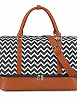 cheap -women canvas weekender bag overnight carryon duffel tote pu leather strap