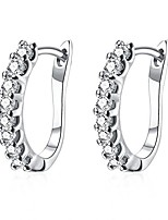 cheap -14k white gold plated small hoop earrings for women huggie earrings piercings with clear cubic zirconia, best ideas (white gold-plated)