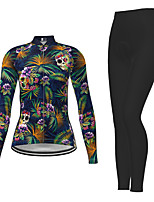 cheap -Women's Long Sleeve Cycling Jersey with Tights Dark Navy Skull Floral Botanical Bike Breathable Quick Dry Moisture Wicking Sports Skull Mountain Bike MTB Road Bike Cycling Clothing Apparel