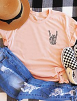 cheap -Women's Halloween T-shirt Graphic Prints Print Round Neck Tops 100% Cotton Basic Halloween Basic Top White Black Blue