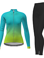 cheap -21Grams Women's Long Sleeve Cycling Jersey with Tights Winter Polyester Green Gradient Bike Jersey Tights Clothing Suit Breathable Quick Dry Moisture Wicking Back Pocket Sports Gradient Mountain Bike
