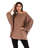 cheap -Women's T-shirt Solid Colored Long Sleeve Round Neck Tops Batwing Sleeve Basic Basic Top Black Khaki