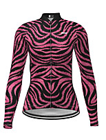 cheap -Women's Long Sleeve Cycling Jersey Purple Zebra Bike Jersey Top Mountain Bike MTB Road Bike Cycling Quick Dry Sports Clothing Apparel / Micro-elastic