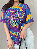 cheap -Women's Blouse Shirt Tie Dye Print Round Neck Tops Loose Basic Basic Top Purple Rainbow