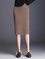 cheap -Women's Casual / Daily Basic Midi Pencil Skirts Solid Colored Split