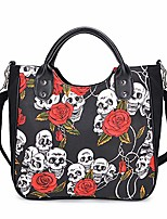 cheap -women fashion rivet handbag purse canvas punk tote with shoulder strap crossbody bag large capacity black (rose-skull)