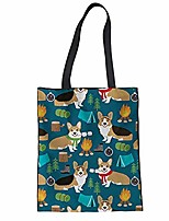 cheap -cartoon corgi bbq pattern women portable handbag canvas tote bags outdoor travel shopping shoulder bag