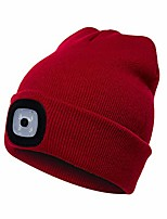 cheap -led beanie hat with light | usb rechargeable light up hat with adjustable brightness | ultra soft material keeps you warm and cozy | find your way in the dark and be noticed by vehicles -red