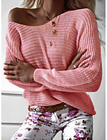 cheap -Women's Stylish Knitted Solid Color Plain Pullover Long Sleeve Sweater Cardigans Crew Neck Round Neck Fall Winter Purple Blushing Pink Gray