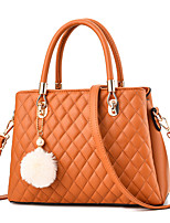 cheap -Women's Bags PU Leather Top Handle Bag Bear Zipper for Daily / Date Earth Yellow / Wine / Black / Blushing Pink