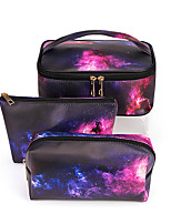cheap -3pcs Travel Organizer Cosmetic Bag Travel Toiletry Bag Large Capacity Washable Travel Storage Durable Starry Sky PU Leather For Portable Foldable Luggage