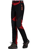 cheap -waterproof fleece hiking thicken breathable softshell trekking climbing outdoor pants (red, s)