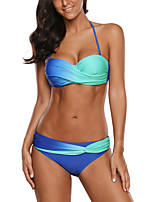 cheap -Women's Sexy Fashion Bikini Swimsuit Backless Color Block Halter Neck Swimwear Bathing Suits Blue Purple