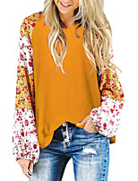 cheap -Women's T-shirt Leopard Color Block Cheetah Print Long Sleeve Print Round Neck Tops Basic Basic Top Red Yellow Light gray