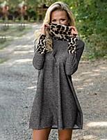 cheap -Women's Sheath Dress Short Mini Dress - Long Sleeve Solid Color Fall Halter Neck Sexy Loose 2020 Gray S M L XL