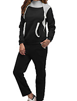 cheap -Women's Sweatpants Hoodie Set Patchwork Hoodie Color Block Sport Athleisure Sweatshirt and Pants Long Sleeve Warm Soft Comfortable Everyday Use Daily Exercising / 2pcs / pack