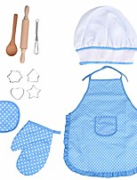 cheap -kids cooking and baking set - 11 pcs includes apron for little girls, chef hat, mitt & utensil for toddler dress up chef costume career role play for 3 year old girls and up (blue)