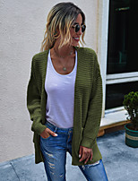 cheap -Women's Basic Knitted Solid Color Plain Cardigan Acrylic Fibers Long Sleeve Loose Sweater Cardigans Open Front Fall Winter Black Army Green Beige