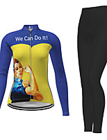 cheap -21Grams Women's Long Sleeve Cycling Jersey with Tights Winter Polyester Purple Red Fuchsia Cartoon Bike Jersey Tights Clothing Suit Breathable Quick Dry Moisture Wicking Back Pocket Sports Cartoon