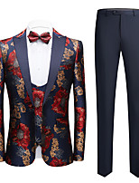 cheap -Tuxedos Standard Fit Shawl Collar Single Breasted One-button Polyester Flower / Printing
