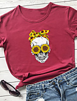 cheap -Women's T-shirt Floral Graphic Prints Skull Print Round Neck Tops 100% Cotton Basic Basic Top White Black Purple
