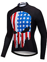 cheap -21Grams Men's Long Sleeve Cycling Jacket Black National Flag Bike Jersey Top Mountain Bike MTB Road Bike Cycling UV Resistant Breathable Quick Dry Sports Clothing Apparel / Stretchy