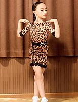 cheap -Latin Dance Dress Pattern / Print Split Joint Girls' Performance Half Sleeve Spandex