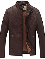 cheap -men's stand up collar faux leather jacket slim fit (brown, size m)