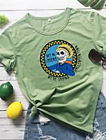 cheap -Women's Halloween T-shirt Graphic Prints Skull Letter Print Round Neck Tops 100% Cotton Basic Halloween Basic Top White Yellow Wine