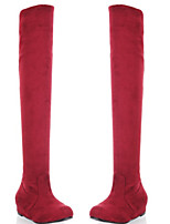 cheap -Women's Boots Flat Heel Round Toe Casual Basic Daily Solid Colored Suede Over The Knee Boots Walking Shoes Dark Red / Black / Red / Leopard