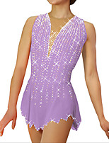 cheap -Figure Skating Dress Women's Girls' Ice Skating Dress Purple Spandex High Elasticity Training Competition Skating Wear Handmade Crystal / Rhinestone Sleeveless Ice Skating Winter Sports Figure Skating