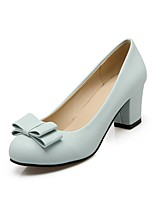 cheap -Women's Heels Wedge Heel Round Toe Classic Daily Bowknot Solid Colored PU Blue / Pink / Beige