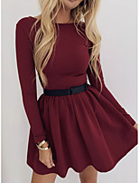 cheap -Women's A-Line Dress Short Mini Dress - Long Sleeve Solid Color Ruched Summer Casual 2020 Black Blue Wine S M L XL