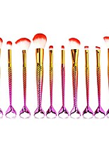 cheap -mermaid makeup brushes, purple gold fish scales wave handle and top red bristles, 10 pcs/set