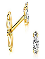 cheap -solid 14k yellow gold tiny solitaire round small cubic zirconia cz stud earrings with 14k gold butterfly push backings (2.5mm)