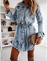 cheap -Women's Denim Shirt Dress Knee Length Dress - Long Sleeve Solid Color Tassel Fringe Spring Fall Shirt Collar Casual Elegant Cotton 2020 Dusty Blue S M L XL XXL 3XL