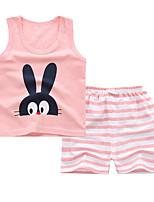 cheap -Kids Girls' Basic Daily Rabbit Cartoon Print Sleeveless Regular Regular Clothing Set Blushing Pink