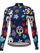 cheap -Women's Long Sleeve Cycling Jersey Dark Blue Skull Floral Botanical Bike Jersey Top Mountain Bike MTB Road Bike Cycling Quick Dry Sports Clothing Apparel / Micro-elastic