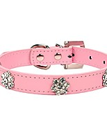 cheap -fashion rhinestones diamante flower adjustable pu leather pet collars for cats puppy small dogs (medium, pink)