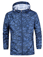 cheap -Men's Hiking Jacket Hiking Windbreaker Outdoor Thermal Warm Windproof Breathable Comfortable Jacket Single Slider Camping / Hiking Climbing Traveling Black / Dark Blue / Light Blue