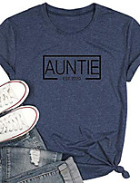 cheap -auntie est t shirt for women funny new aunt vibes shirt short sleeve letter printed tee shirts tops blue